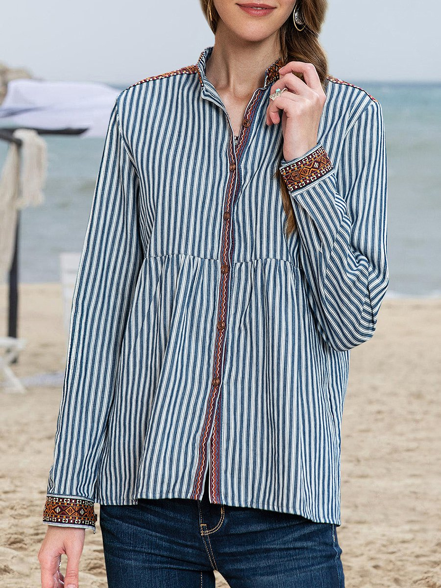Clothing & Accessories Roselinlin Long Sleeve Blue White Women Tops Stand Collar Linen Ethnic Elegant Binding Daily Tops