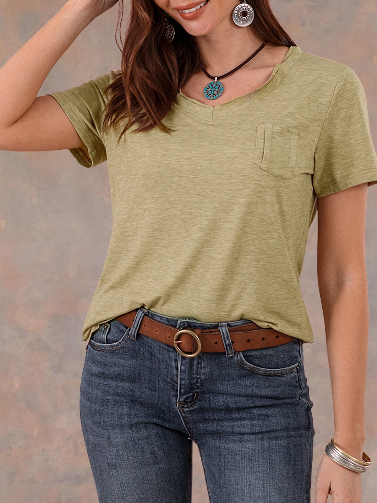 Clothing & Accessories Roselinlin Short Sleeve Lightgreen Women Tops Basic Knitted Crew Neck Pockets Casual Tops