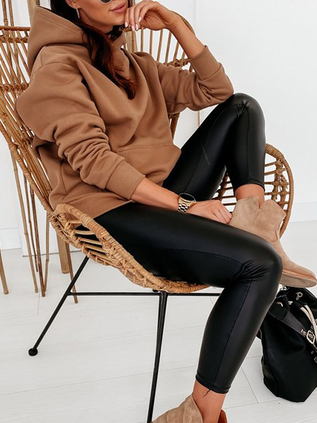 Clothing & Accessories Roselinlin Long Sleeve 1 Brown Women Tops Spandex Hoodie Casual Daily Tops