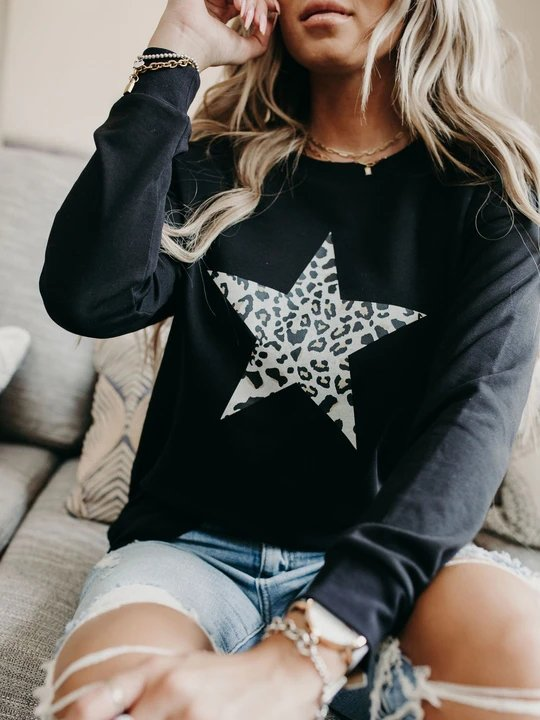 Clothing & Accessories Roselinlin Long Sleeve 1 Black Women Tops Casual Crew Neck Cotton-Blend Daily Printed Tops