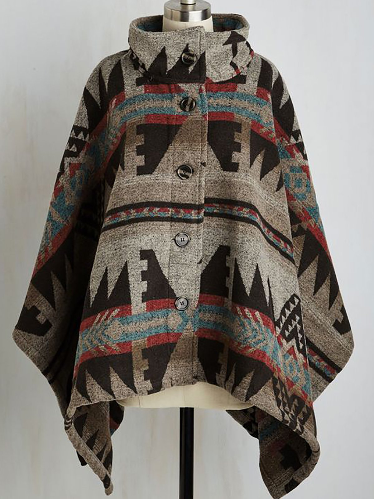 Clothing & Accessories Batwing Geometric Outerwear - Roselinlin