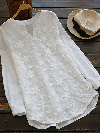 Floral Lace Embroidery Long Sleeve Loose Shirt Blouse