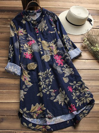 Women Floral Printed Stand Collar Mid-Long Vintage Dresses