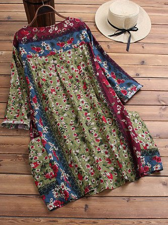 Floral-Print Cotton Casual 3/4 Sleeve Blouses