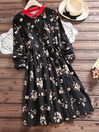 Red Collar Floral Buttoned Long Sleeve Dress