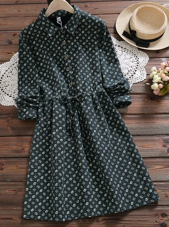 Women's Lace Up Long Sleeve Floral Dress
