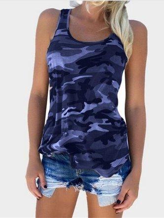 T-Shirts Sleeveless Camo Casual T-Shirts & Blouses