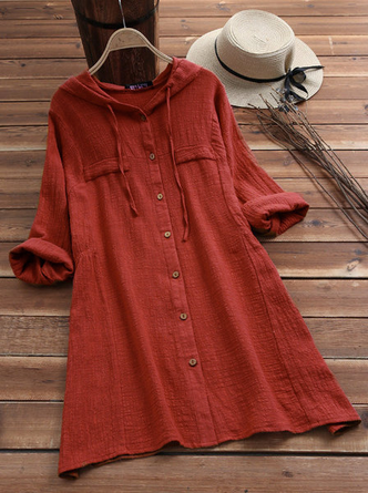 Woman Solid Color Drawstring Hooded Long Sleeve Dress