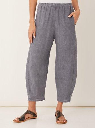 Women Solid Casual Pockets Linen Pants