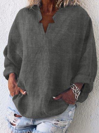Casual Long Sleeve Cotton-Blend Plain Blouse