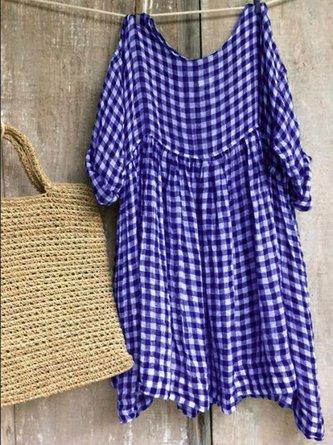 Casual Half Sleeve Round Neck plaid Dresses