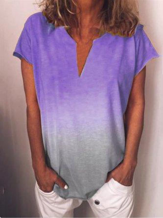 Casual Printed V-neck Short Sleeve Plus Size Shirt
