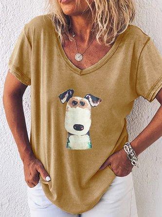 Printed V Neck Short Sleeve Shirts