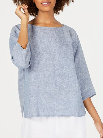 Plus Size Casual 3/4 Sleeve Shirts & Tops