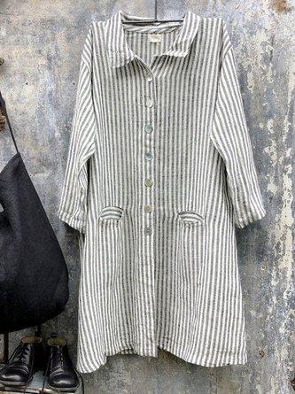Lapel Collar Long Sleeve Striped Shirts