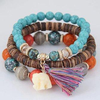Ethnic Alloy Vintage Boho Beaded Tassel Bracelets