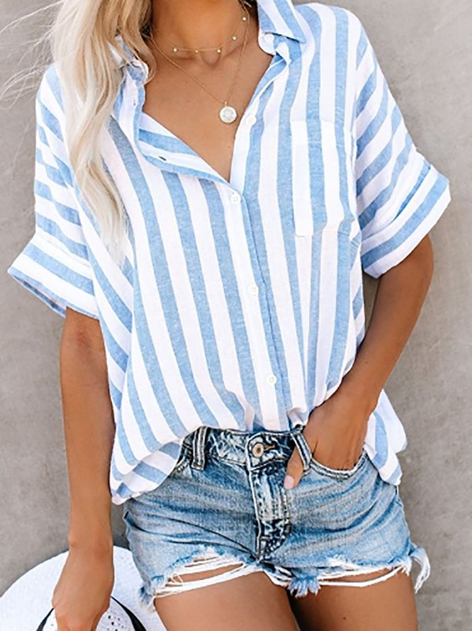 Buttoned Short Sleeve Striped...