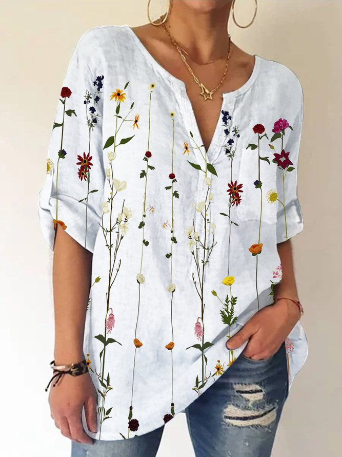 Casual Floral V Neck Shirts &...