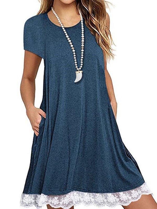Summer T-Shirt Dress with Poc...