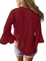Women 3/4 Sleeve Solid Blouse Casual Top