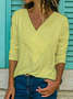 Women Solid Shift Elegant Solid Long Sleeve V Neck Blouse