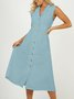 Lapel Women Midi Dresses A-Line Daily Vintage Cotton Dresses