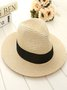 Vintage Plain Foldable Flat Eave Straw Wide Brim Holiday Casual Hats