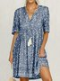 Blue Cotton Printed Short Sleeve Patchwork Dress