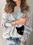 Cat Printed Vintage Striped Sweater