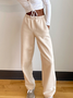 Beige Solid Sports Pants