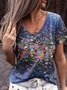 Floral V Neck Floral-Print Casual Shirts & Tops