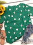 Women Daisy Floral Short Sleeve Shift Crew Neck Tops