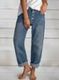 Blue Casual Buttoned Pants Denim Trousers